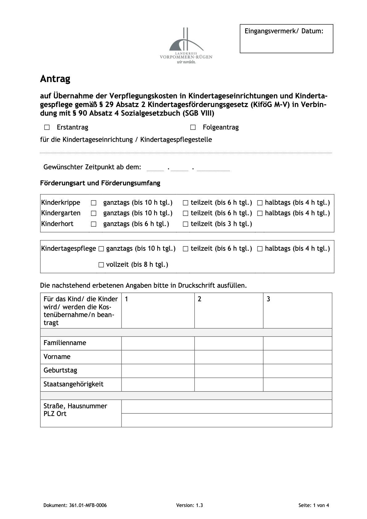 Antrag Verpflegungskostenübernahme