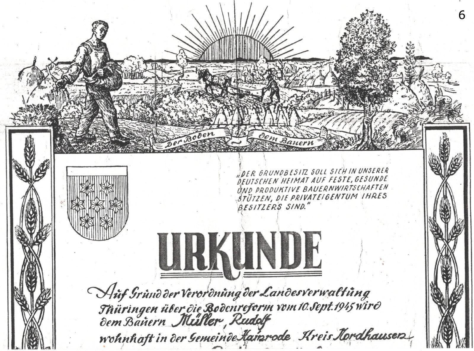 Urkunde Müller, Rudolf