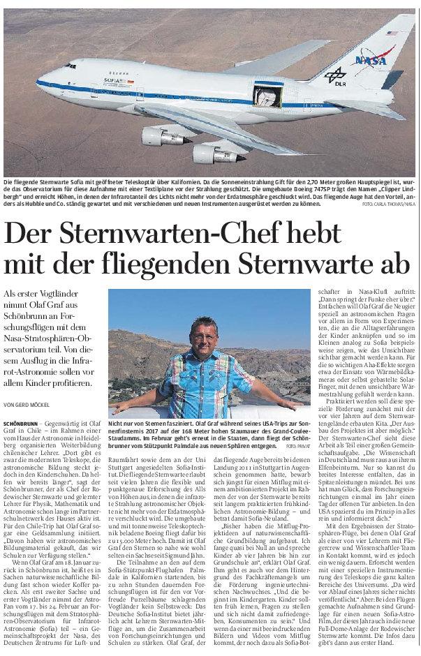 Zeitungsartikel der FREIEN PRESSE vom 08.01.2019
