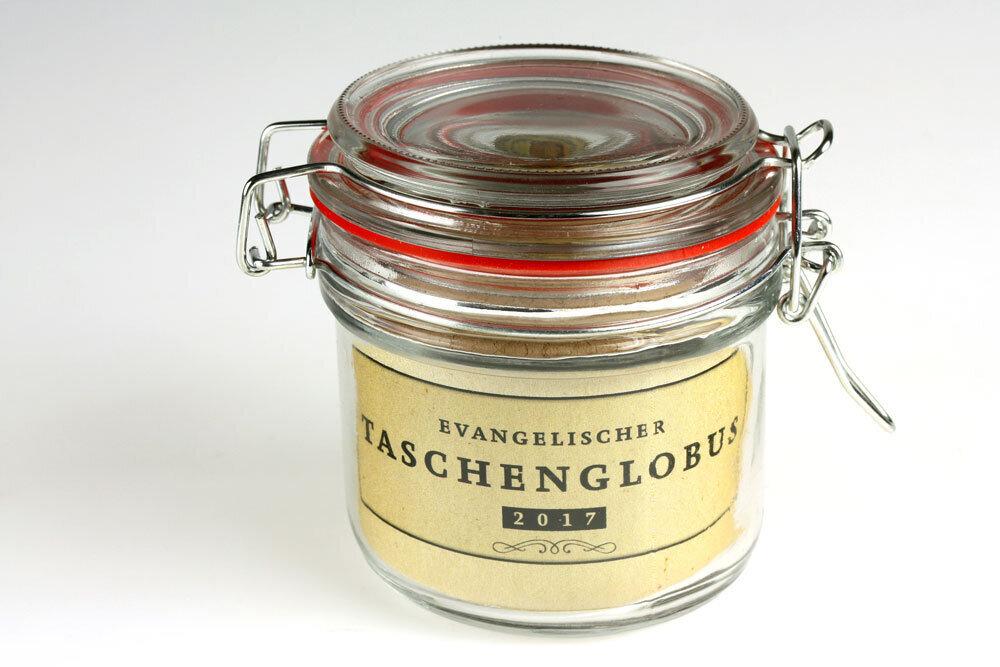 Taschenglobus in Einweckglas