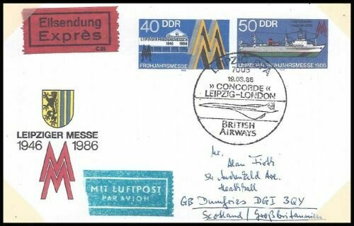 Frühjahrsmesse 1986 als Auslandsluftpostbrief verwendet