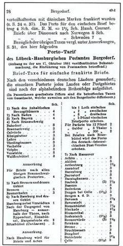 Porto-Tarif des Lübeck-Hamburgischen Postamtes Bergedorf 1