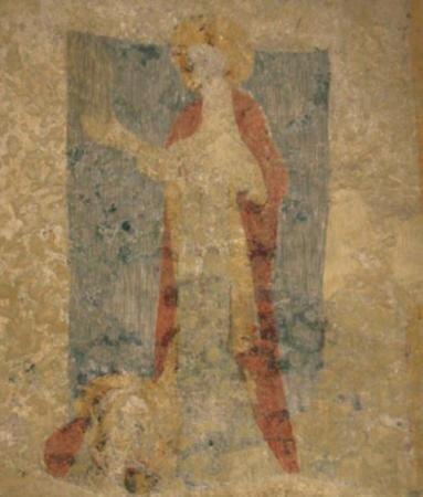 Abgeschlagenes Haupt Pantaleons, Fresko in der Apsis der Asselfinger Kirche