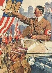 Hitler at the Reichsparteitag 1937; https://commons.wikimedia.org/wiki/File:Ludwig_HOHLWEIN_Schmucktelegramm_WK_II_Hitler_Reichsparteitag_I-II_Drittes_Reich_NSDAP_Propaganda_1937_Deutsche_Reichpost_Telegram_Nazi_Party_Rally_Nuremberg_1937_No_known_copyright_restrictions_0456615123.jpg