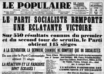 """Journal """"Le Populaire"""", n° 4831, 4 mai 1936. https://commons.wikimedia.org/wiki/File:Le-Populaire-4-mai-1936.jpg"""
