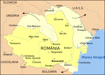 Map of divided Romania.  Author: Anton Gutsunaev; https://commons.wikimedia.org/wiki/File:P%C3%A9rdidasTerritorialesRumanas1940-ro.svg