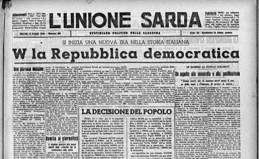 """Front page of the newspaper """"L'Unione Sarda"""" declaring the victory of the republican vote. AccaddeOggi: il 2 giugno 1946 nasce la Republica Italiana – L'Unione Sarda.it"""