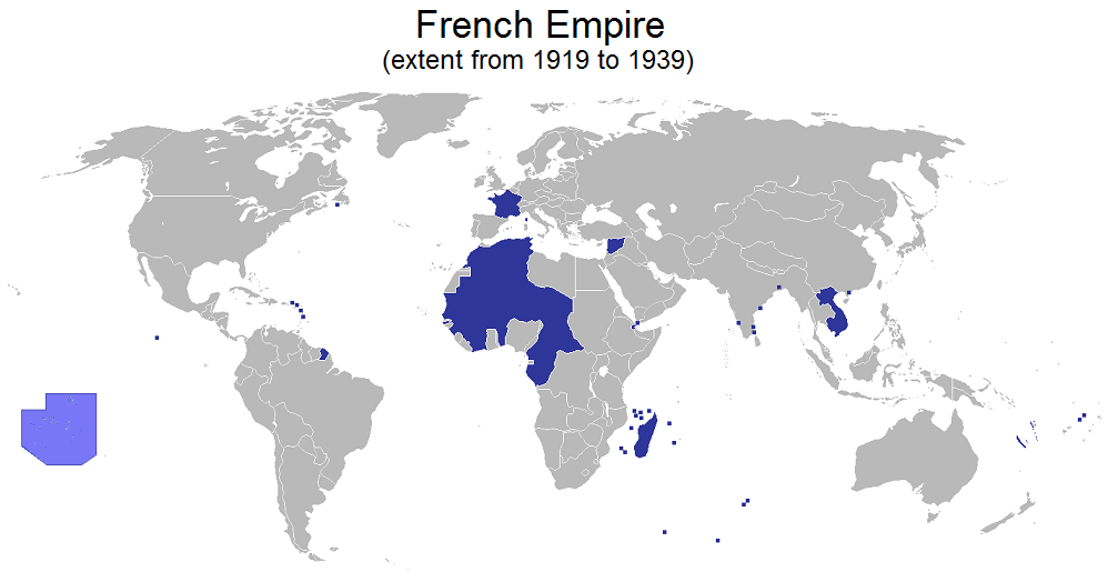 The extent of the French Empire between 1919 and 1939. Author: Rosss https://en.wikipedia.org/wiki/French_colonial_empire#/media/File:French_Empire_1919-1939.png