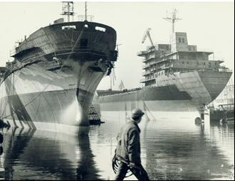 "Ship construction at the ""Georgi Dimitrov"" shipyard in Varna. https://commons.wikimedia.org/wiki/File:BASA-21-11-68-1-Varna.jpg"