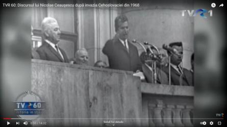 Ceausescu condemns Soviet invasion of Czechoslovakia in 1968; Screenshot: TVR 60: Discursul lui Nicolae Ceauşescu după invazia Cehoslovaciei din 1968 - YouTube