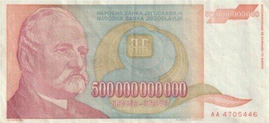500 billion dinars banknote issued during hyperinflation;  https://sh.wikipedia.org/wiki/Datoteka:500000000000_dinars.jpg
