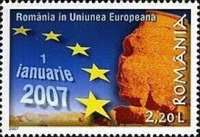 Post stamp celebrating the integration of Romania into the European Union; Post of Romania. https://commons.wikimedia.org/wiki/File:Stamps_of_Romania,_2007-001.jpg