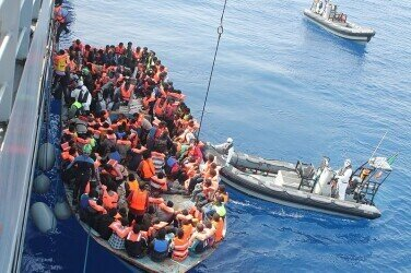 Rescue of refugees by a Irish ship in 2015; https://commons.wikimedia.org/wiki/File:LE_Eithne_Operation_Triton.jpg