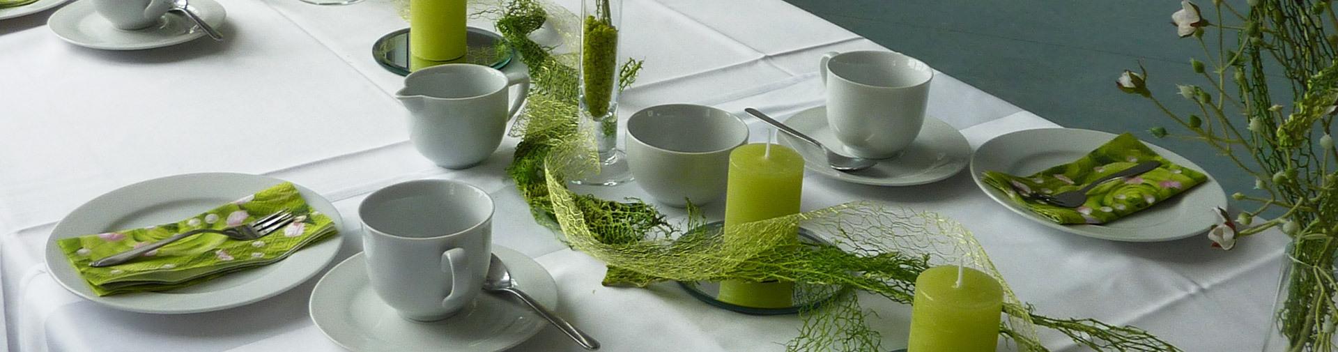 Deko grün im Saal