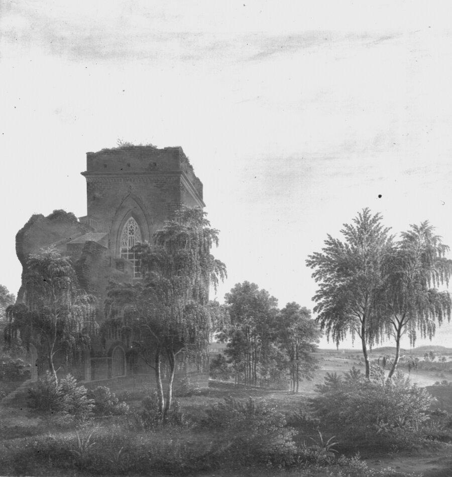 August Heinrich Schirmer Das Belvedere bei Knoblauch mit Aussicht auf Paretz  1827 (C) SPSG Original verschollen-Ausschnitt