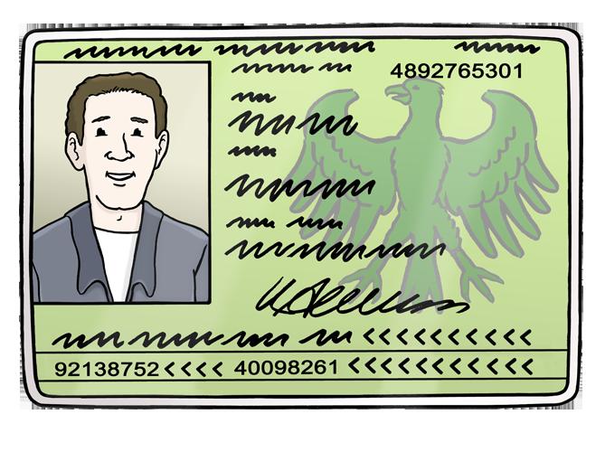 Bild zeigt den Ausweis von einem Mann