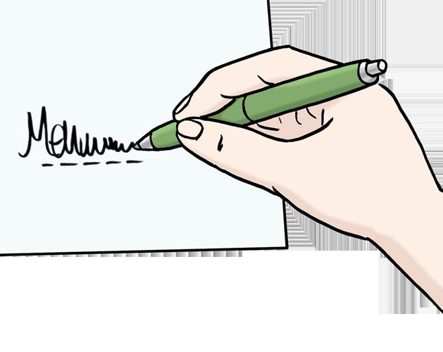 Bild zeigt ein Formular, dass von einer Person ausgefüllt wird