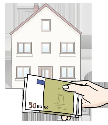 Bild zeigt ein Haus, davor hält eine Hand Geldscheine fest