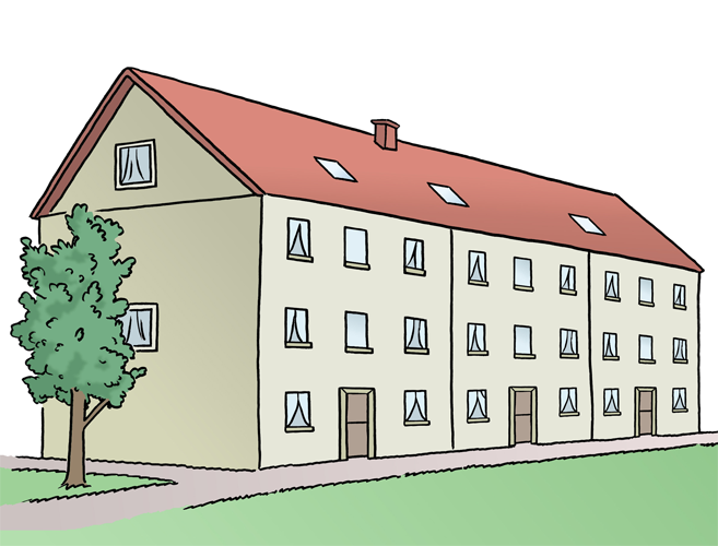 Bild zeigt ein großes Haus, in dem mehrere Menschen wohnen können