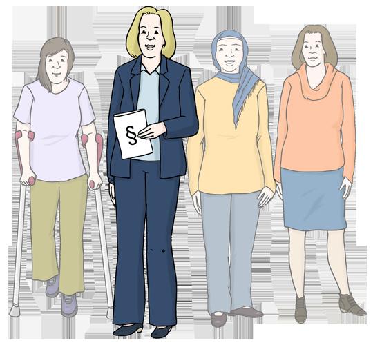 Bild zeigt Frauen und eine Frauen- und Gleichstellungs-Beauftragte. Sie setzt sich für die Gleichstellung von Frauen und Männern ein