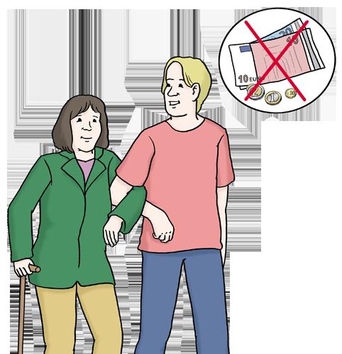Bild zeigt einen Mann, der einer Frau am Krückstock hilft zu gehen. Geldscheine sind in dem Bild durchgestrichen, da der Mann ihr freiwillig hilft