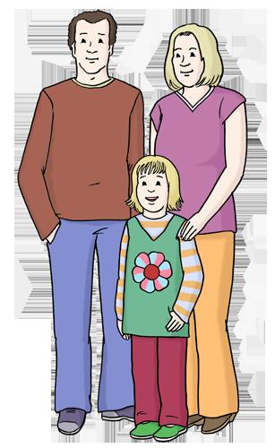 Bild zeigt eine Familie, bestehend aus Vater, Mutter und Kind