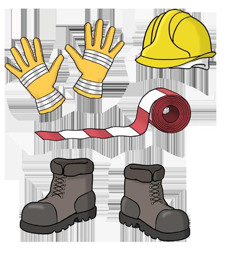 Bild zeigt Arbeits-Handschuhe, einen Sicherheits-Helm, ein Absperr-Band und Sicherheits-Schuhe