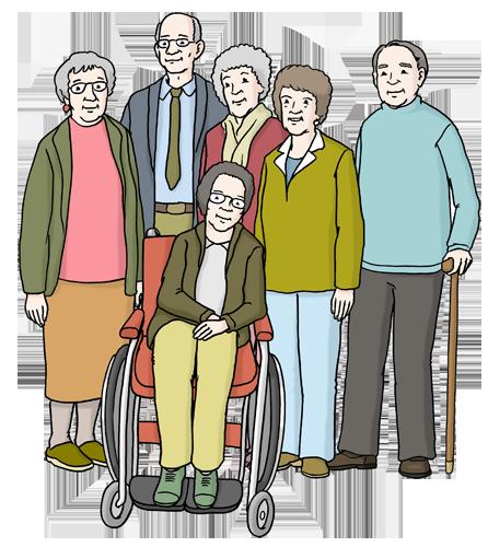 Bild zeigt verschiedene Senioren