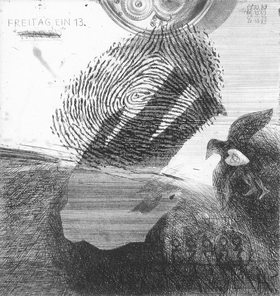 Schattentheater - Radierung, 20 x19cm, 1989
