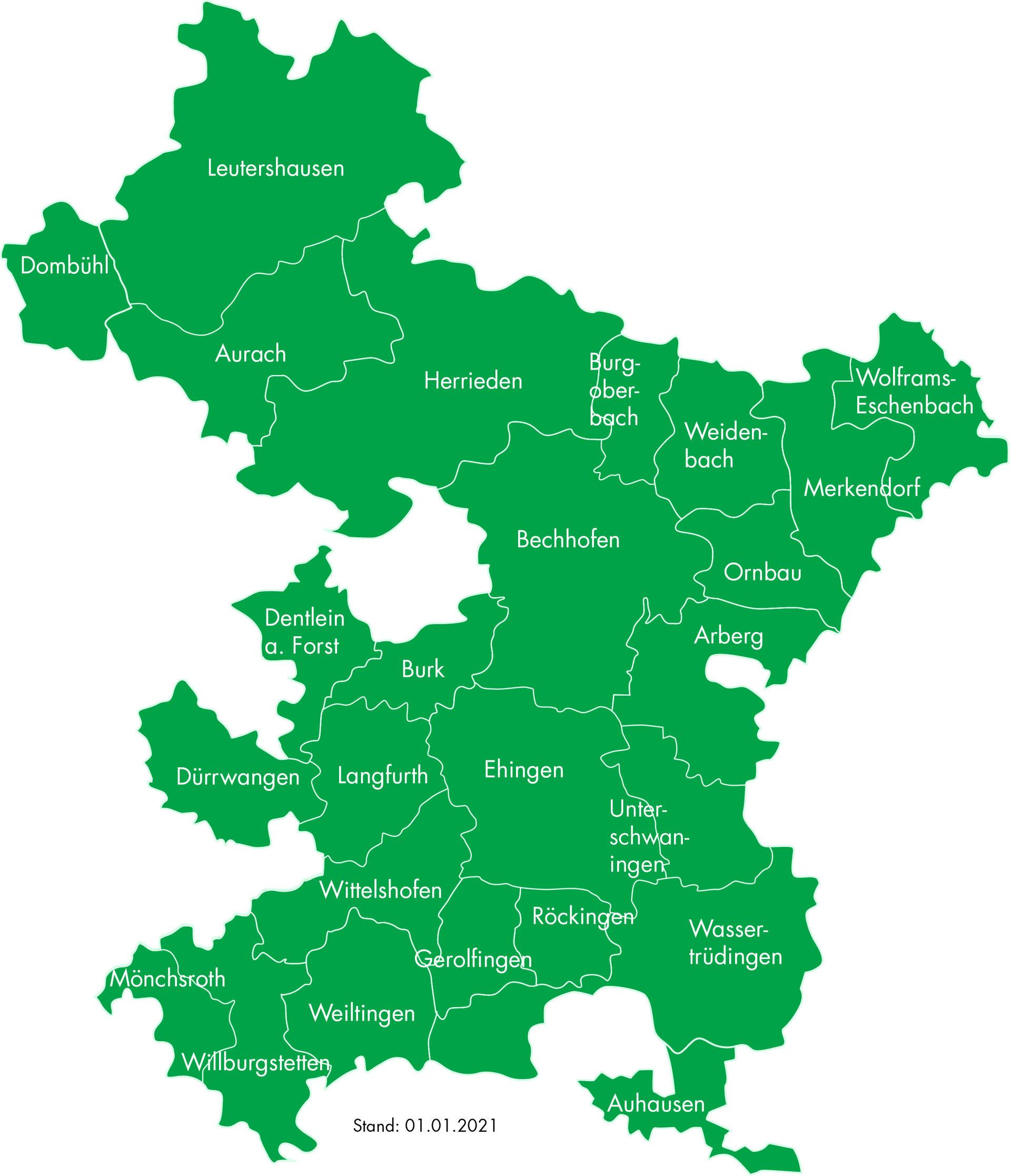 Karte der Region Hesselberg