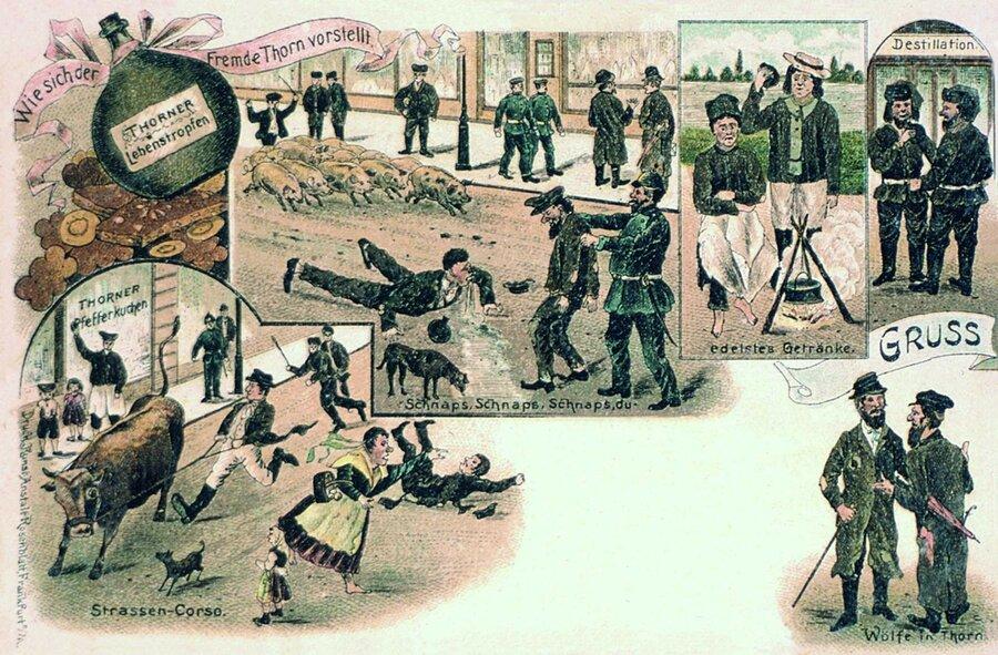 Thorn humoristische Ansichtskarte von 1899, ©Stephan Becker, Brüssow
