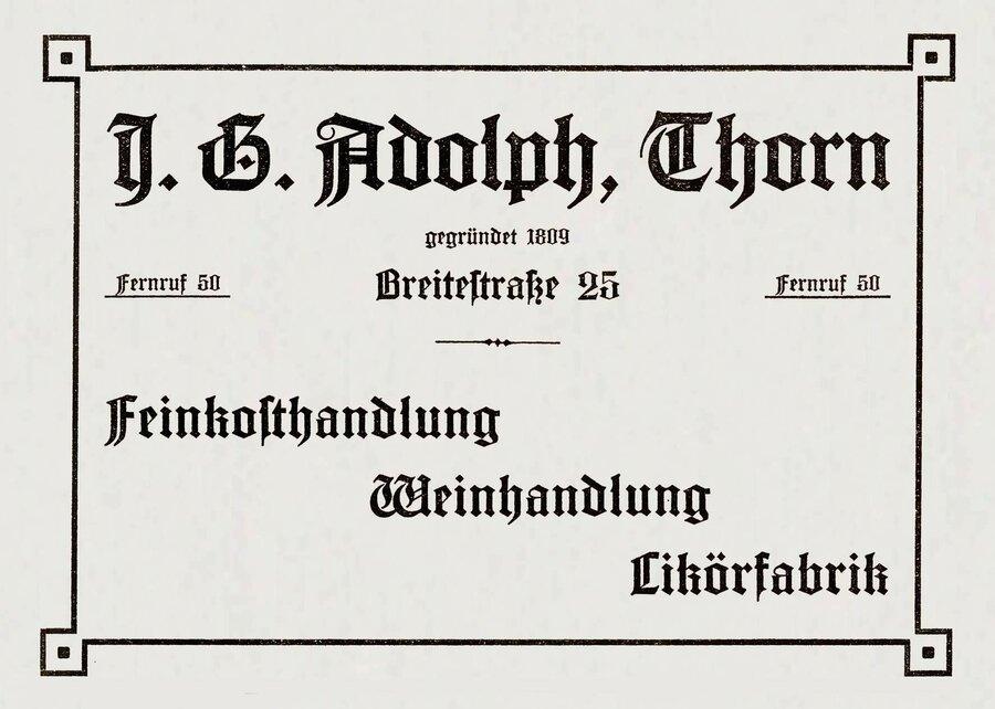 Werbeanzeige der Firma Adolph, ©Privatsammlung Kurt Müller, Berlin