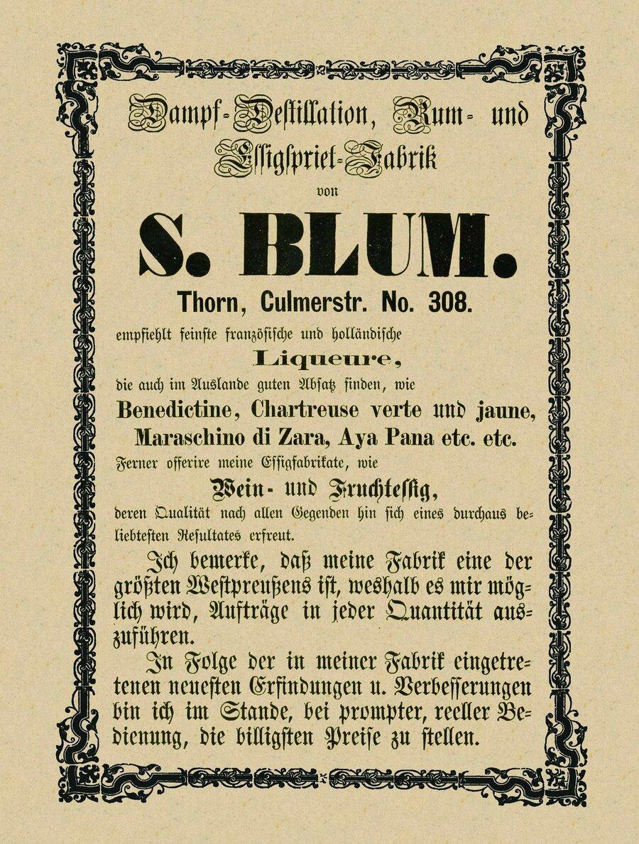 Werbeanzeige der Firma Bluhm, ©Privatsammlung Kurt Müller, Berlin
