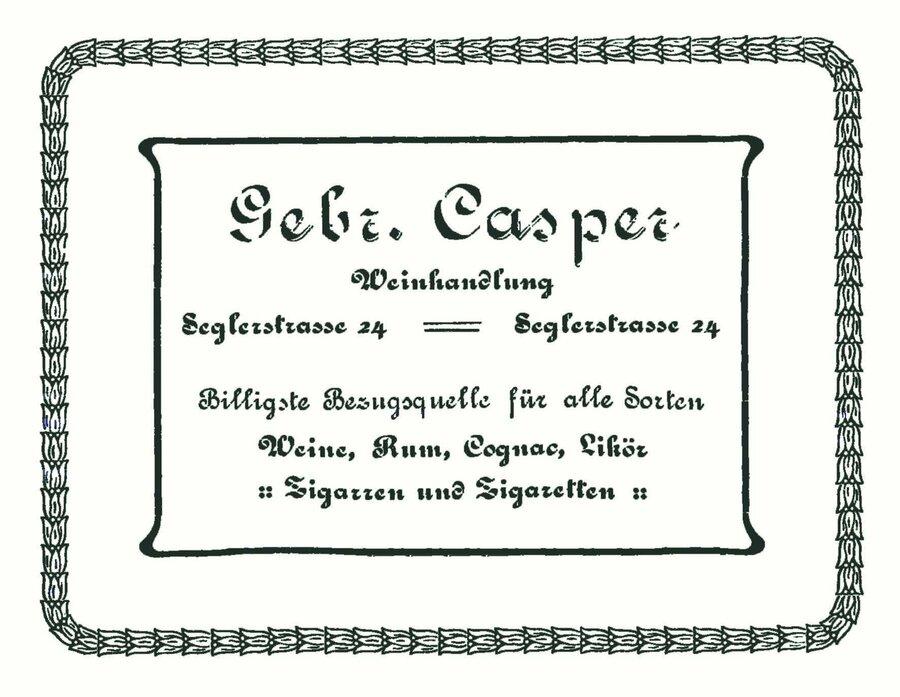 Werbeanzeige der Firma Casper, ©Privatsammlung Kurt Müller, Berlin