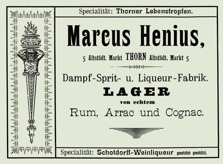 Werbeanzeige der Firma Marcus Henius, ©Privatsammlung Kurt Müller, Berlin