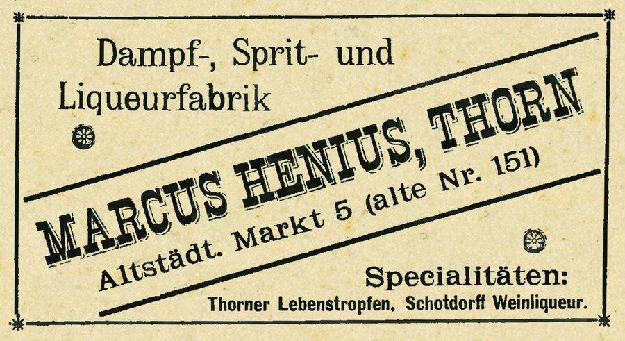 Werbeanzeig der Firma Marus Henius, ©Privatsammlung Kurt Müller, Berlin