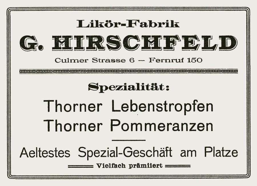 Werbeanzeige der Firma Hirschfeld, ©Privatsammlung Kurt Müller, Berlin