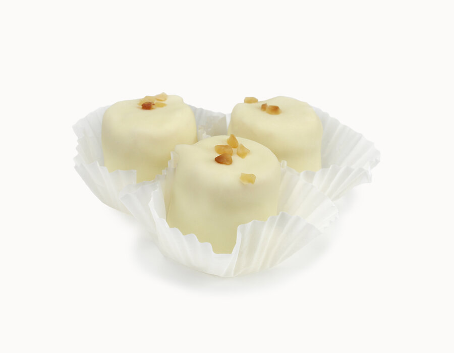 Ziegenfrischkäse Schokotörtchen Weiß mit Papier