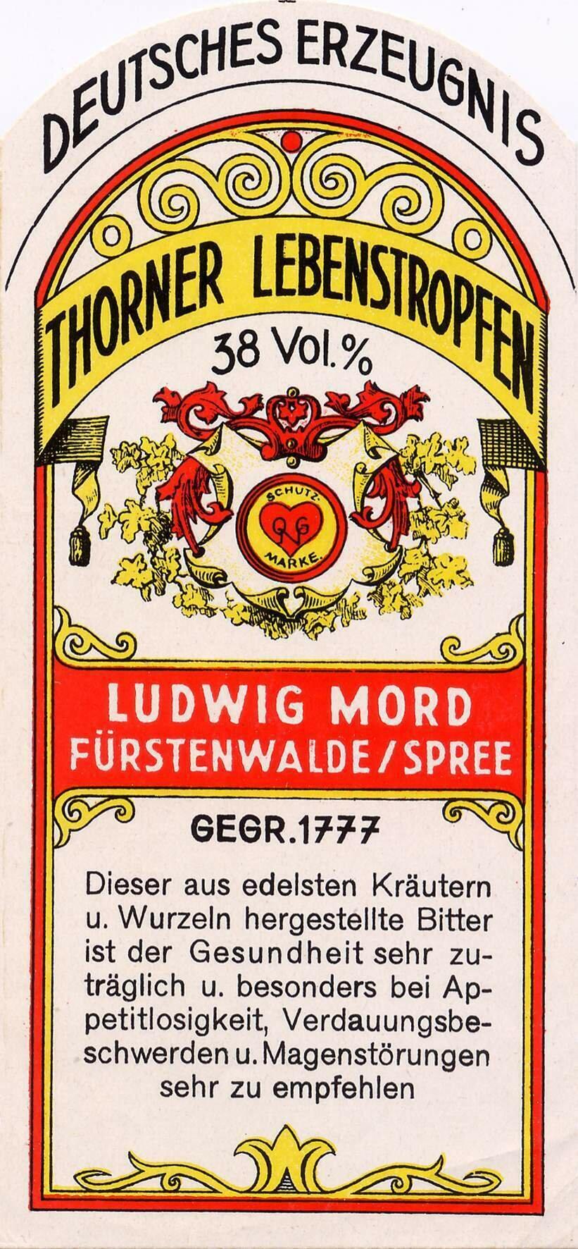 Etikett Thorner Lebenstropfen, Likörfarbik Ludwig Mord, ©Stephan Becker, Brüssow