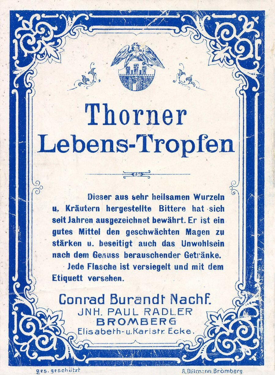 Etikett Thorner Lebenstropfen, Likörfarbik Conrad Burandt, ©Stephan Becker, Brüssow