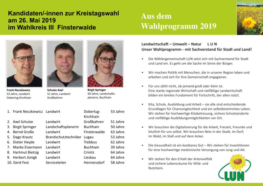 Innenseite Flyer LUN Elbe-Elster (Unabhängige Wählergemeinschaft Landwirtschaft, Umwelt und Natur) in Elbe-Elster