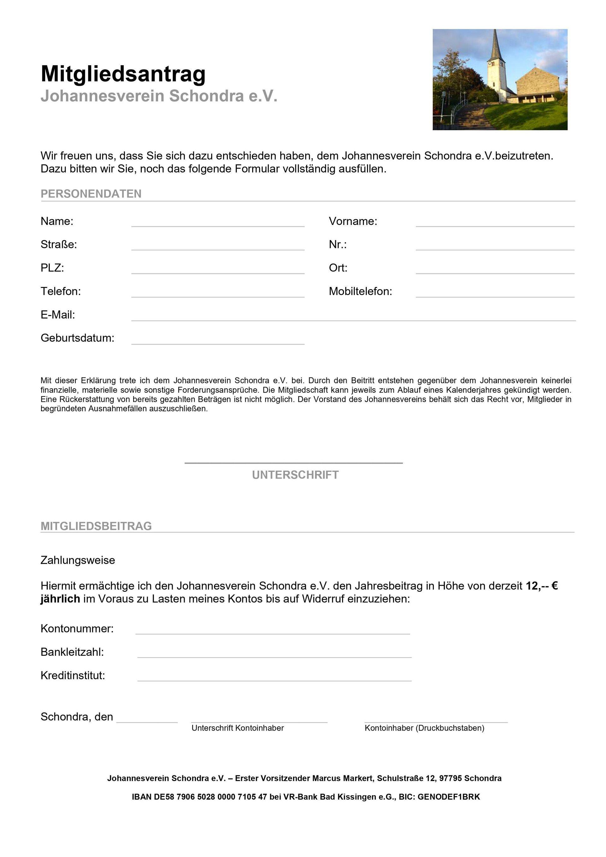 Mitgliedsantrag Johannesverein