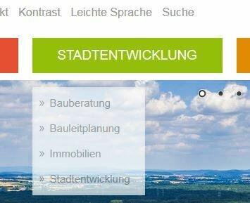 Bild zeigt das geöffnete Menü von Stadt-Entwicklung; Foto: Screenshot Stadt Maintal