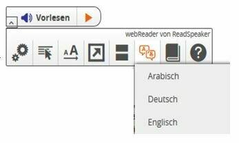 Bild zeigt die Funktionen der Vorlese-Funktion