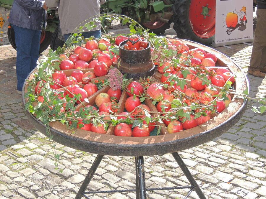 Landwirtschaftliche Produkte werden von den Direktvermarktern angeboten.