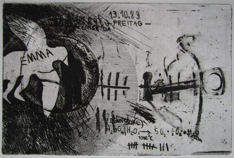 13.10.89 - Radierung, 10 x 15 cm, 1989