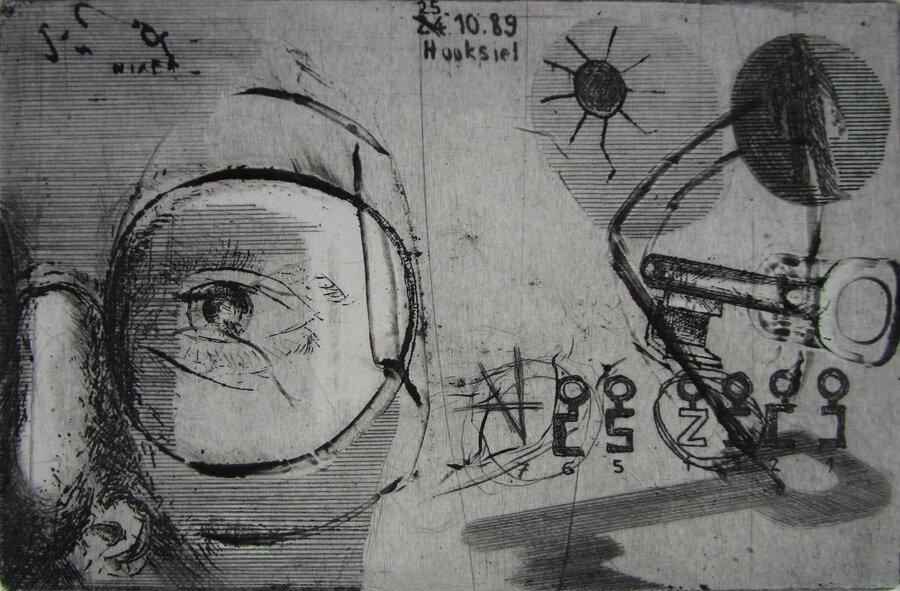 gegenüber - Radierung, 10 x 15 cm, 1989