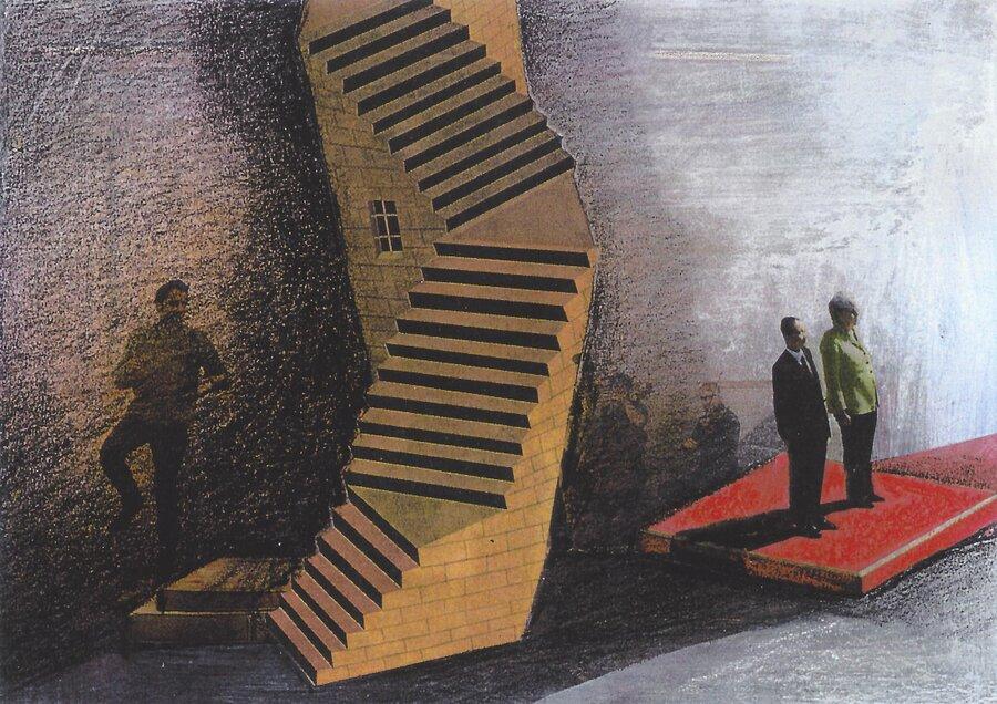 Treppenwitz - 10,5 x 14,5 cm, 2012