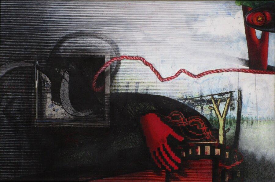 Roter Faden - Acryl auf Leinwand, 60 x 90 cm, 2008