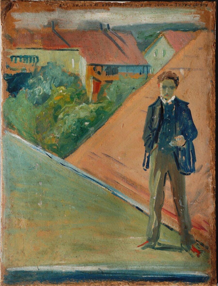 A._Macke_Knabe_auf_dem_flachen_Dach_in_Kandern_C.Cito_1907_a